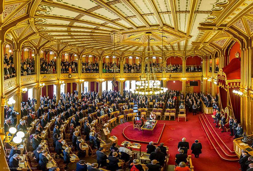 Åpningen av Stortinget er en høytidelig anledning hvor Kongen er til stede.