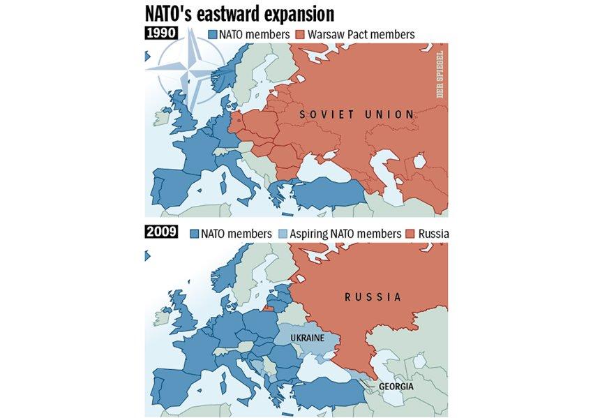 """NATO-utvidelse etter den kalde krigen. Russland ser på dette som at """"fienden rykker stadig nærmere"""". Bilde fra Der Spiegel."""