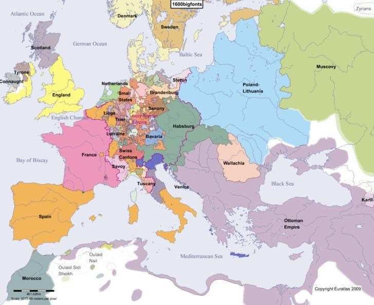 Polen-Litauen på sitt største hadde spist seg langt inn på russisk territorium