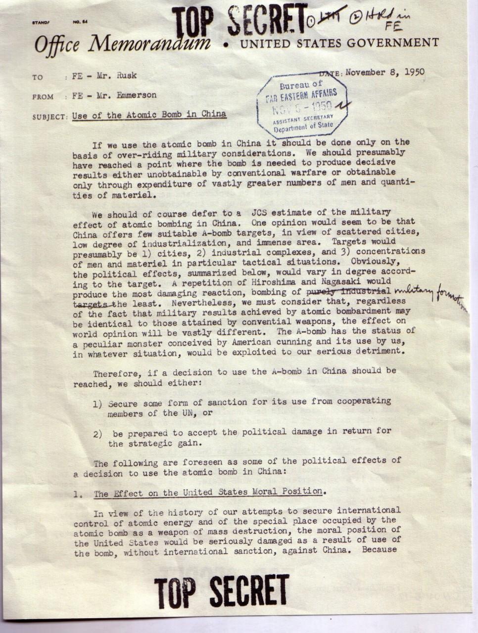 Tidligere topphemmelig dokument som omhandler et mulig atomangrep på Kina.