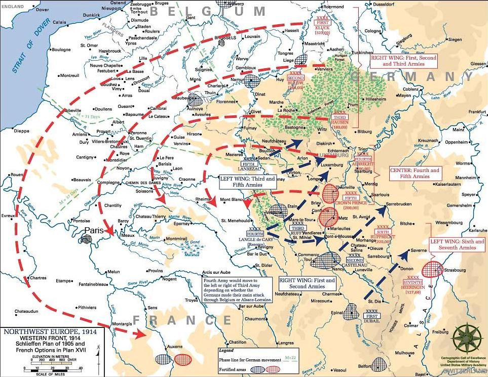 Tyskernes Schlieffen-plan i rødt og franskmennenes Plan XVII (17) i blått