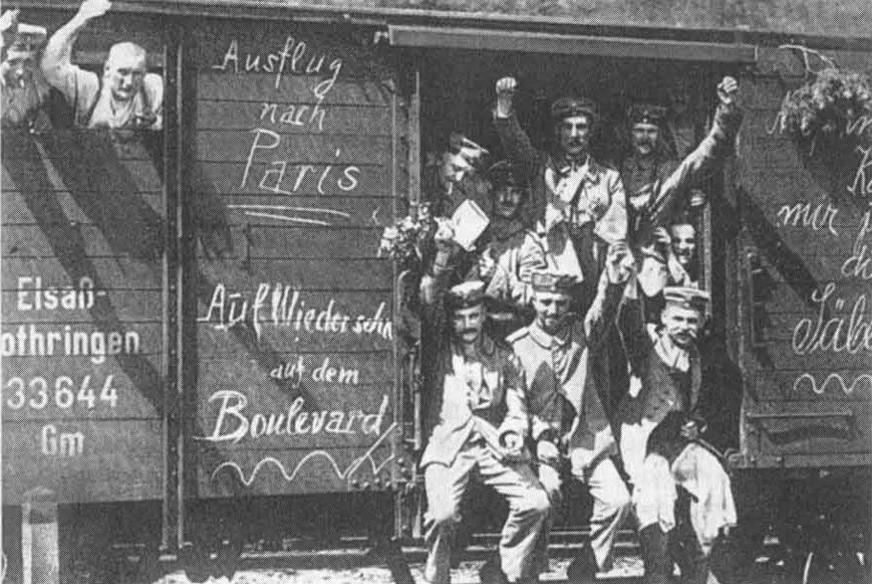 """Tyske soldater tror de på """"toget til Paris."""""""